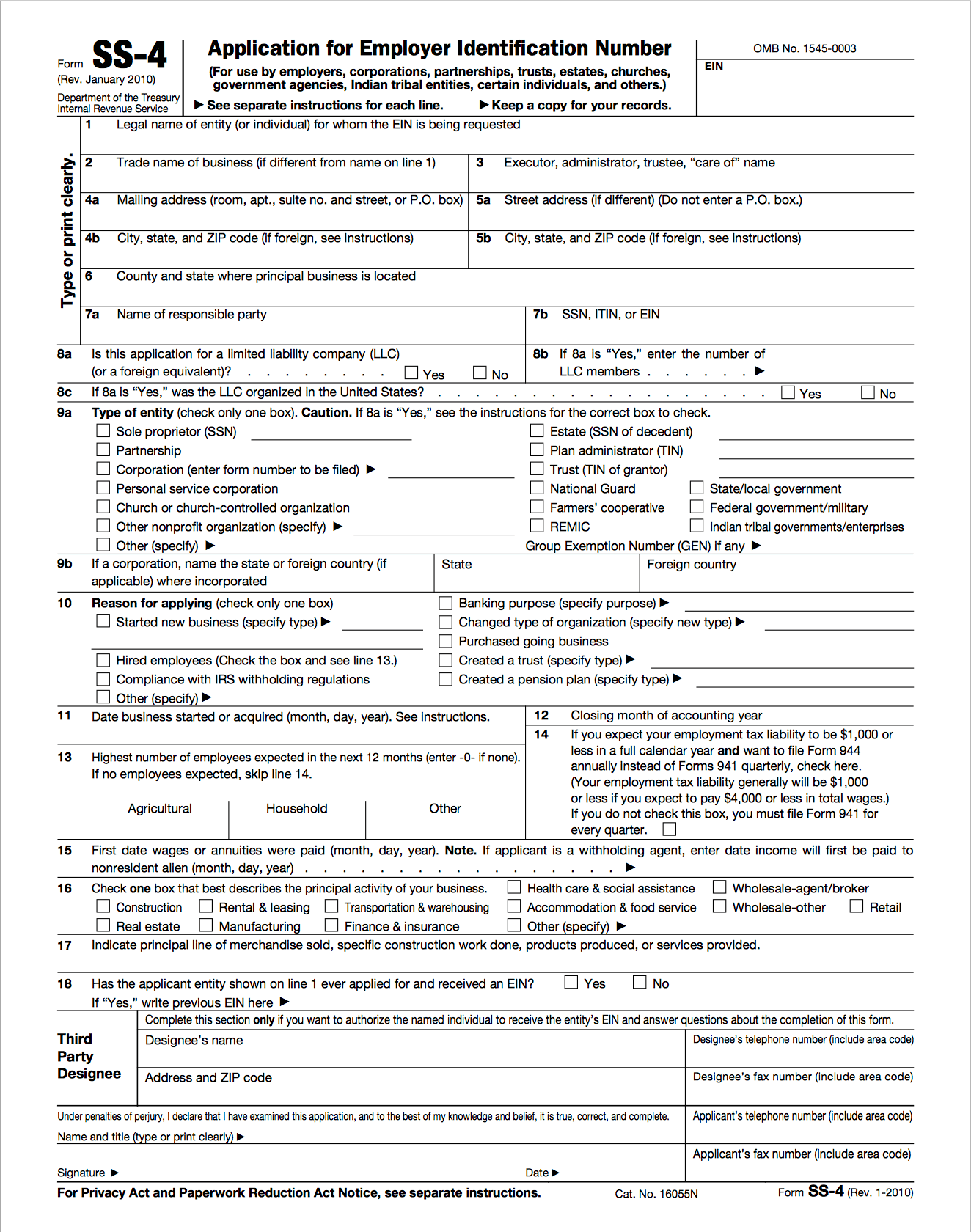 Screenshot of IRS form SS-4 to apply for EIN