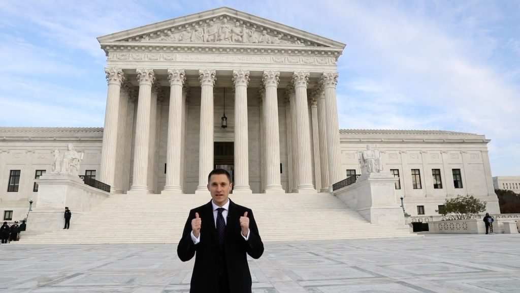 Dmytro Biryuk in front of the US Supreme Court telling how his NY bar exam resulted into the SCOTUS bar admission