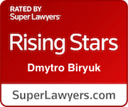 Red Badge of Super Lawyers (Thomson Reuters) Showing Selection of Dmytro Biryuk to New York Metro Rising Stars for 2021